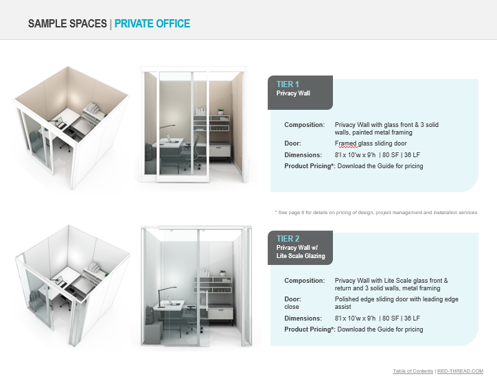 Sample Page of Demountable Walls Design and Budget Guide